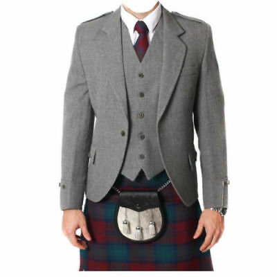 "New Men's Scottish Wool Argyle Jacket And 5 Button Vest Sizes"" 36 to 54"""