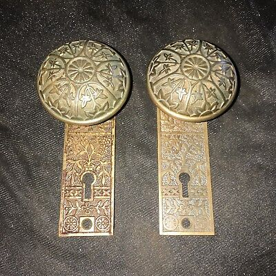 Antique  Pair Of Solid Brass Eastlake Door Knobs And Backplates