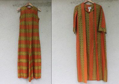 Vintage 1970s Designer Saks Fifth Ave Jumpsuit + Robe Bohemian Style Size Small