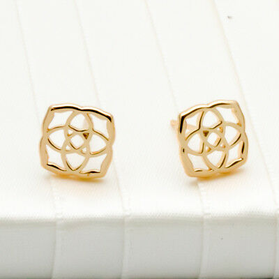 Kendra Scott Dira Gold Plate LOGO Stud Earrings RV $50 New with pouch