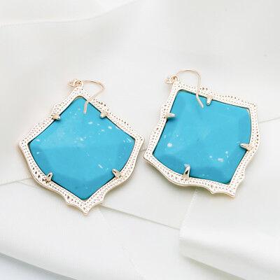 Kendra Scott Kirsten In Turquoise Stone Gold Plated Drop Dangle Earring New
