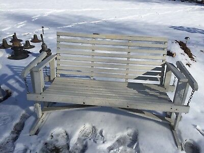 Vintage Oak Arts & Crafts Wood Porch Swing/ Stand ~4 Ft~Mission~Western New York