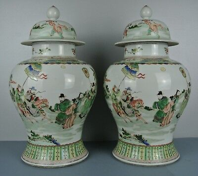 Fine Chinese 19Th C.century Famille Verte Porcelain Baluster Vases And Cover