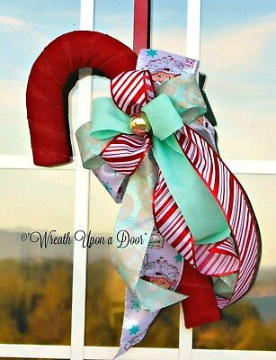 Candy Cane for Front Door, Candy Cane Wreath, Aqua and Red Christmas Candy Cane
