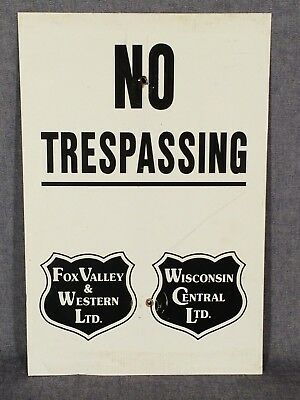 """Vintage Railroad No Trespassing Painted Aluminum Sign 18"""" x 12""""  Used"""