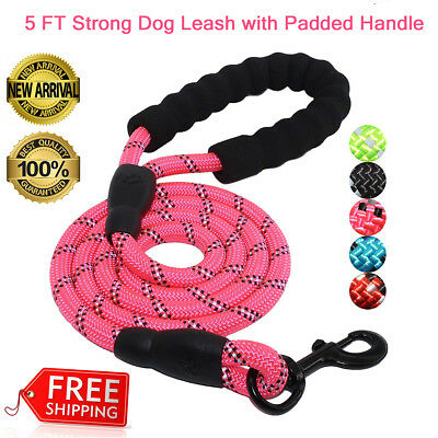 5FT Strong Dog Leash+Padded Handle Highly Reflective Perfect for Night Run Walk