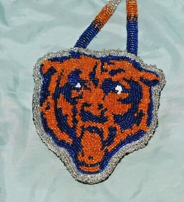 Chicago Bears Native American Bead Work Pendant Necklace and Necklace Set - Nice