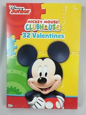 Disney 32 Cards Junior Mickey Mouse Clubhouse Party Supplies Valentines Day