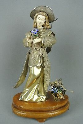Fine And Rare Chinese Qing Dinasty Gilt Silver & Enamel European Lady Sculpture