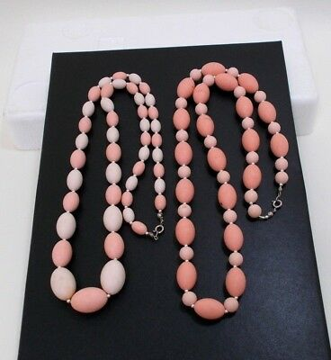 LOT OF (2) Pretty Pink Vintage Plastic Beaded Necklaces