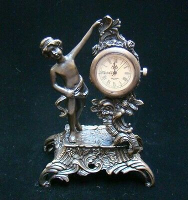 Collectible Handmade Carving Statue angel Bronze Mechanical Clock Art Deco