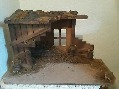 """Large Realistic Nativity Scene Stable Manger Christmas Wood 25"""" W x 14"""" T"""
