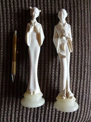Arnoldo Giannelli Alabaster Sculptures - Pair of Japanese Figures on Marble Base