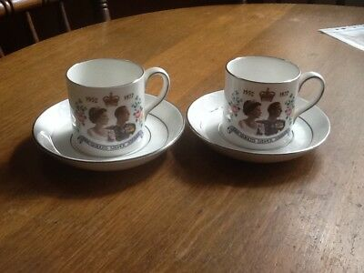 Silver Jubilee Cup And Saucer 1977 X Two Sets .