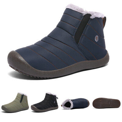 Men's Winter Snow Ankle Boots Fur Lined Casual Warm Shoes Outdoor Slippers