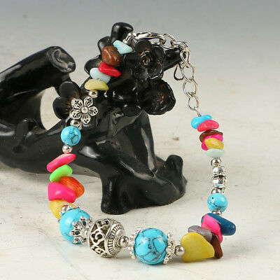 Exquisite Tibet Silver Handwork National Fashion Beads Bracelet RS025+b