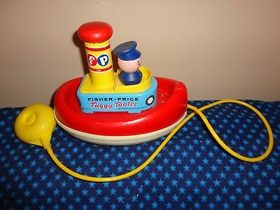 1967 Fisher Price Tuggy Tooter Boat #139 Pull Toy