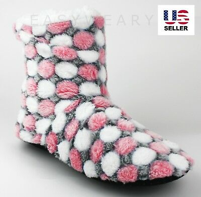 Womens Fleece Lined Fuzzy House Slip On Non-Skid Slippers Booties Shoes 7-11