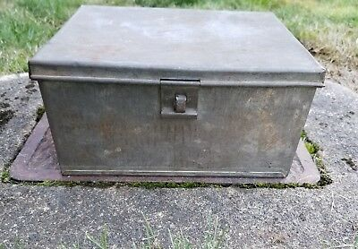 1 Antique Tin Metal Vintage Cash Bank BOX -  Latch For Lock -Document Old Chest