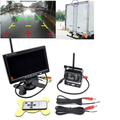 "Wireless Rear View Back up Camera Night Vision System+7""Monitor for RV Truck Van"
