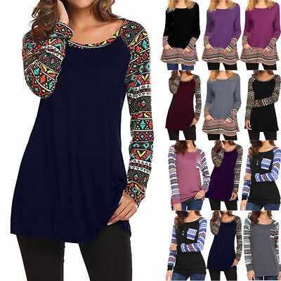 Womens Loose Long Sleeve Cotton Casual Ladies Blouse T Shirt Tunic Top Pullover
