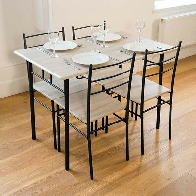 2018 5 Piece Modern Dining Table and 4 Chairs Set Textured Wood effect Table Top