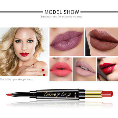 Double Ended Longlasting Makeup Multifunct Pencil Lipstick Pen Matte Lip Liner