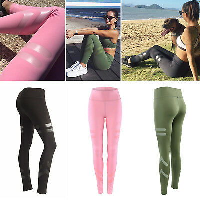 Womens High Waist Fitness Leggings Running Gym Stretch Sports Pants Trousers