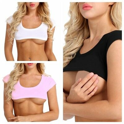 Sexy Women Pure Color Short Sleeve Cotton Vest Crop Top T-Shirt Bra Tops Blouse