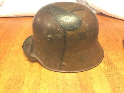 WWI German Camo Helmet With Original Chinstrap