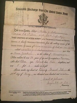 WWI Discharge Document 53rd Infantry 6th Division