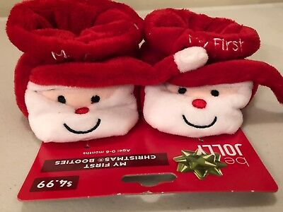 Be Jolly My First Christmas Booties Socks Shoes Baby Plush Infant Age 0-6 months