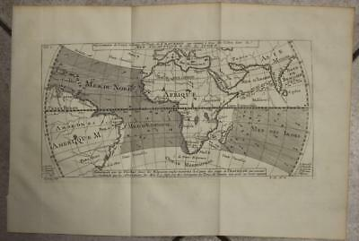 Wind Currents Atlantic & Pacific Oceans 1754 Bellin Antique Engraved Chart