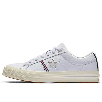 Size 10.5 Converse One Star OX White Cream Red Low Top Sneakers Shoe Leather NEW