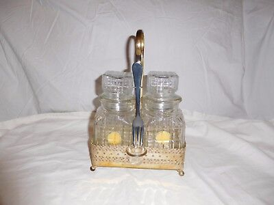 Antique Double Pickle Jars In Silver Plate Gold Color Caddy  Made In England