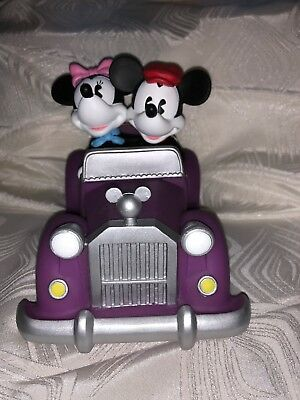 Mickey & Minnie Mouse driving Purple Roadster, Vinyl, Piggy Bank
