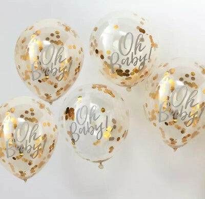 Oh Baby Confetti Balloons Baby Shower Gender Reveal Decorations Banner Rose Gold
