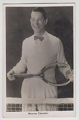 POSTCARD - Maurice Chevalier tennis racket, French movie star, film cinema actor