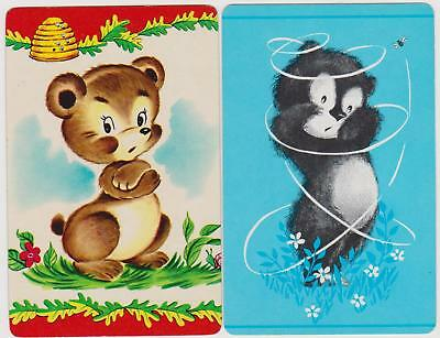 Swap/Playing Cards ~ CUTE LITTLE BEARS AND BEES ~ Vintage x 2