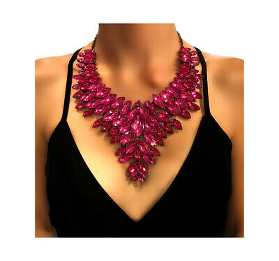 Pink Crystal Bib Chunky Earrings and Statement Necklace