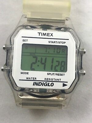 Vintage Timex Indiglo W 116 Digital Clear Band Wristwatch Watch W