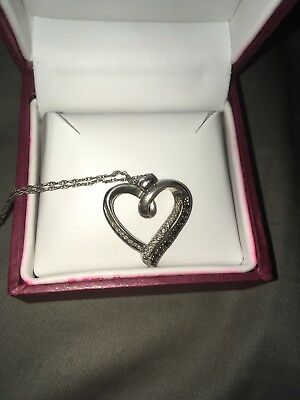Diamond Heart Necklace Black And White 1/4 ct tw Round-cut Sterling Silver