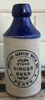 BLUE TOP GINGER BEER BOTTLE PERTH WA SHAMROCK AERATED CO BLOB TOP 1910's