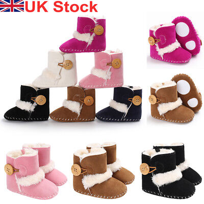 UK Baby Winter Warm Boots Infant Kids Booties Toddler Girls Boys Walking Shoes