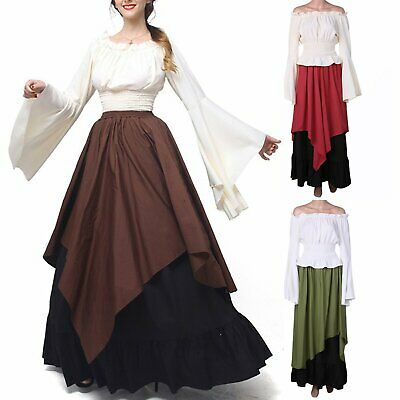 Adult Womens Renaissance Costume Medieval Maiden Vintage Fancy Cosplay Dress
