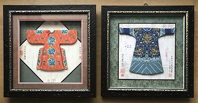 Vintage Ming & Ching Dynasty Chinese Emperor's Silk Dragon Robes in Glass Frame