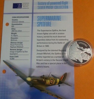 2003 Solomon Island 999 Silver 1 Oz Proof $25 Coin Powered Flight Collection [3]