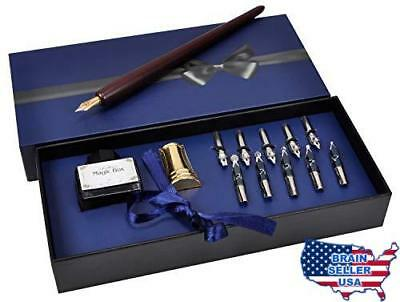 Plotube Wooden Pen Calligraphy Set - Dip Wood Pen Gift Writing Case with Golden