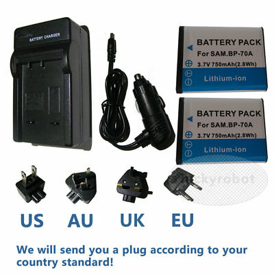 Battery/ car&home charger for Samsung BP70A SL50 ES65 ES70 PL80 PL100 WP10 AQ100