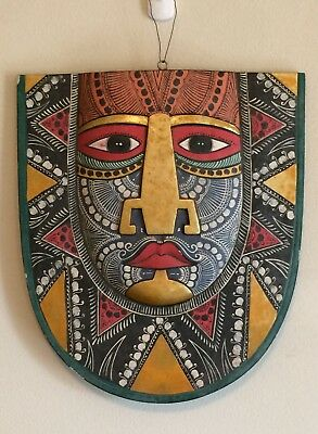 POLYNESIAN/Pacific hand painted, stylized, tattooed face on wood. Wall hanging.